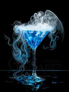 A Drink With Angels by artist Michael Godard art gallery Godard Art, Cocktail Bleu, Cocktail Glass, Glass Photography, Wine Art, Cocktails, Drinks, Martinis, Jolie Photo
