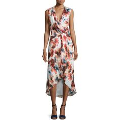 Haute Hippie Sleeveless Floral-Print Crossover Dress ($148) ❤ liked on Polyvore featuring dresses, multi, sleeveless dress, chiffon dresses, slimming dresses, floral chiffon dresses and floral day dress