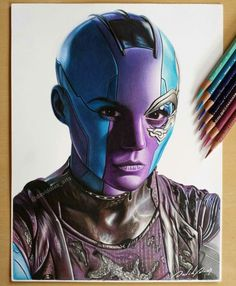 Drawings - Many Different Subjects. Nebula Guardians of the Galaxy. Drawings Spanning Many Different Subjects. Click the image, for more art from David Dias. Marvel Fan Art, Marvel Dc Comics, Marvel Avengers, Nebula Marvel, Galaxy Drawings, Avengers Drawings, Dibujos Tumblr A Color, Polychromos, Wow Art