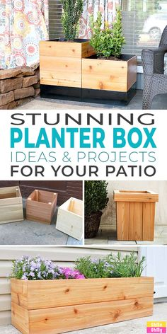These planter box ideas & DIY projects are perfect for your patio! Dress up your outdoor garden space, grow plants, herbs & flowers right where you can enjoy them everyday! #planterbox #planterboxes #gardenplanters #outdoorplanters #diyplanterbox #diyplanterboxes #diygardenplanters #diyoutdoorplanters #diygardenideas #diyhomedecor #gardenideas Planter Box Plans, Cedar Planter Box, Garden Planter Boxes, Diy Wooden Planters, Outdoor Planters, Rectangular Planter Box, Pot Plante, Self Watering Planter, Garden Spaces