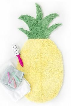Glue two bath mats together to make one big pineapple-shaped spot to dry your feet after a shower.