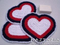Free Pattern - Crochet Heart Dishcloth and Potholder