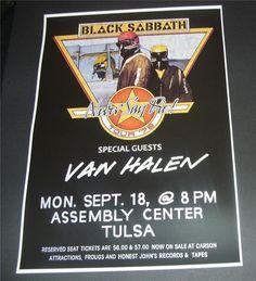 Black Sabbath concert poster Assembly Center Tulsa OK,USA 1978 A3 size repro