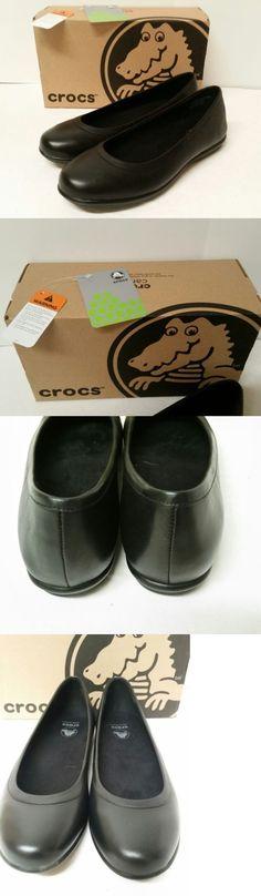 Occupational 53548: Crocs Women S Grace Flat, 9 Nib, Black Leather Slip-Resistant -> BUY IT NOW ONLY: $34.99 on eBay!