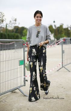 Leandra Medine | Man Repeller | wearing floral pants, grey sweater #leandramedine