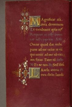 Medieval and Renaissance Manuscripts  MS. Canon. Liturg. 287  Manuscript  Parchment  Book of Hours. Use of Rome.  Italian  Bologna  15th century, end  fol. 062v  whole page  Text: Office of the Dead. Decorated initials 'M(agnificat)' and 'L(auda)' with gems, pearl and flowers decoration in margin.