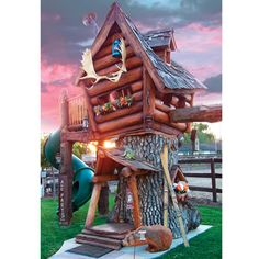 The Log Cabin Tree Lodge - Hammacher Schlemmer.  $20k?!  I need to learn how to hollow out a tree.