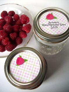 Plaid Red Raspberry Canning jar labels, cottage chic stickers for jam jars, CanningCrafts, Etsy $4