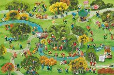 """Zeitungslektüre im bunten Gewimmel: Kinderbuchillustrator Ali Mitgutsch malt sich als """"Kluger Kopf"""" in eines seiner bekanntesten Wimmel-Bilder. © Frankfurter Allgemeine Zeitung (FAZ) http://www.faz.net"""