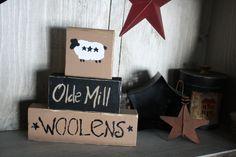 Primitive Painted Blocks   ... Painted Shelf Sitter Sign Primitive Decor Cute Star Sheep Lamb 3 Block