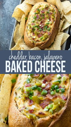 Cheddar Bacon Jalapeno Baked Cheese Dip in Bread Bowl