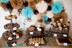 I say we go blue and chocolate everything, a little more rustic and cozy than the wedding theme?