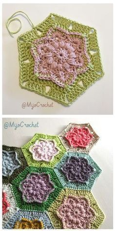 Crochet Flowers Pattern Wind Flower Hexagon Free Crochet Pattern - The free hexagon crochet patterns here will open up a whole world of options for you to make everything from adorable coasters to motif afghans. Hexagon Crochet Pattern, Crochet Flower Patterns, Crochet Squares, Crochet Blanket Patterns, Crochet Motif, Crochet Flowers, Granny Squares, Free Pattern, Crochet Blocks