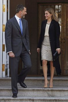King Felipe and Queen Letizia of Spain arrive at the ceremony welcoming the Colombian president to Spain