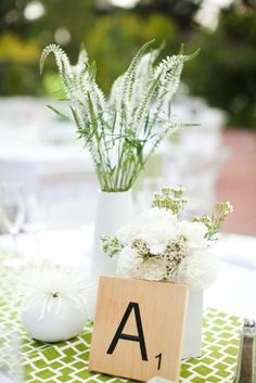 graphic table runner.  simple flowers and vases.   Los Altos Wedding by Scott Stater Photography  Read more - http://www.stylemepretty.com/2012/01/20/los-altos-wedding-by-scott-stater-photography/