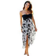 Printed Beach Dresses Woman Summer 2017 Cover Up Swimwear Women Sexy Robe  Vstidos Mujer Black White Printed vestido c22b972c4