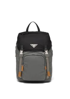 Innovation and technology come together to create this nylon backpack with Saffiano leather trim. Prada Backpack, Men's Backpack, Leather Backpack, One Shoulder Backpack, Prada Gifts, Triangle Logo, Miuccia Prada, Black Nylons, Shopping Bag