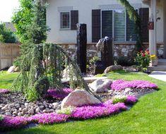 rasen, dekorative pflanzen an dem wand, blumentöpfe vorgarten ... - Gartengestaltung Ideen Vorgarten