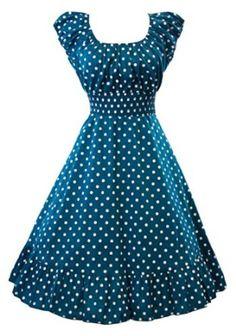 Sidecca Retro Polka Dot Smock Swing Dress-Plus Size Simple Dresses, Pretty Dresses, Casual Dresses, Frock Fashion, Fashion Outfits, Vintage Dresses, Vintage Outfits, Latest African Fashion Dresses, Vintage Mode