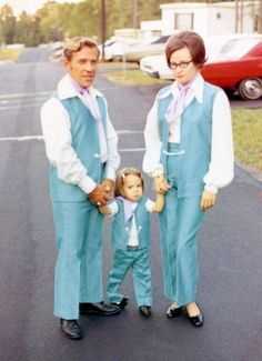 "Yep, this is my family!  ""This was taken in the Fall of 1970.  My dad was studying for a PhD in Theatre, so he was taking a costuming class.  For some reason, he decided that it would be a good idea to make the family matching outfits.  Apparently, I was the only one brave enough to show my true feelings."" [...]"