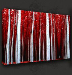 forest art paintings | RED-FOREST-LANDSCAPE-PAINTING-CANVAS-PRINT-POP-ART-POSTER-MANY-SIZES ...