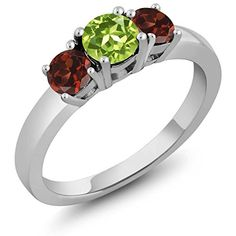 134 Ct Round Green Peridot Red Garnet 925 Sterling Silver 3Stone Ring * Want additional info? Click on the image.(This is an Amazon affiliate link and I receive a commission for the sales) #Rings