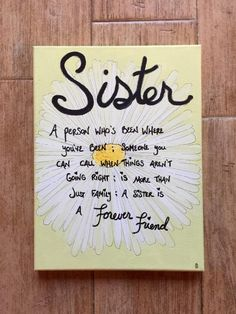 Sister Gift For Canvas Wall Signs Decor Quote Gifts Sisters Art