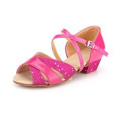 12.99  Women s Kids  Latin Ballroom Leatherette Sandal Heel Buckle Chunky  Heel Pink Silver Gold Non Customizable. Ballroom Dance ShoesBuy ... 0e52d9aff56f