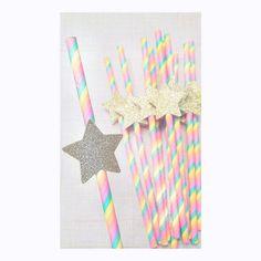 Check out this item in my Etsy shop https://www.etsy.com/listing/502901507/rainbow-star-straws-unicorn-birthday