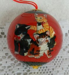 "Pier 1 Li Bien 3 Cats Hand Painted Glass Christmas Tree Ornament 3"" Black Red"