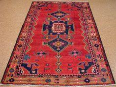5 x 8 PERSIAN LURI NOMADIC TRIBAL Hand Knotted Wool RED NAVY PINK Oriental Rug #PersianLuriTribalNomadicGeometric