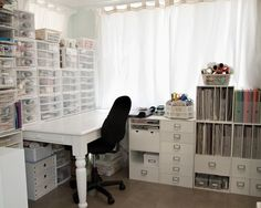 {Orginization}Bright White Craft Room with Recollection Cubes - Scrap this. Sewing Room Storage, Sewing Room Organization, Craft Room Storage, Organizing Ideas, Storage Ideas, White Craft Room, Craft Room Decor, Craft Rooms, Home Command Center