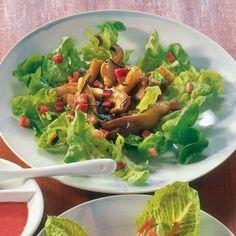 Eichblattsalat mit Austernpilzen