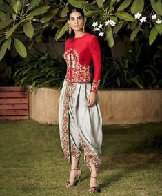 RAW Silk Dhoti pant and blouse with Hand Embroidery.