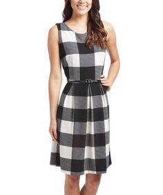 Look what I found on #zulily! Black & Cream Check Sleeveless Dress #zulilyfinds