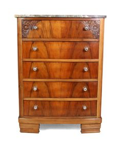 French Art Deco Walnut Chest of Drawers with Marble Top 1920s