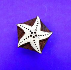 Starfish Wood Stamp Hand Carved Fabric Textile by PrintBlockStamps