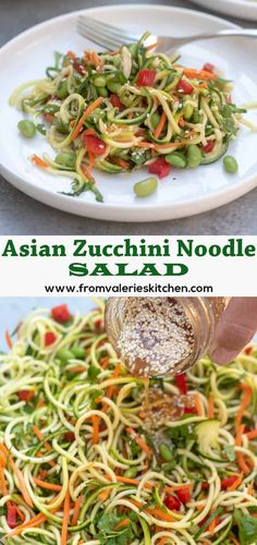This Asian Zucchini Noodle Salad with Ginger Sesame-Soy Dressing is a vibrant, wholesome choice to add to the menu for your next summer gathering. It makes for a delicious side dish or add grilled chicken or shrimp to make it a meal. Zuccini Salad, Zucchini Noodles Salad, Veggie Noodles, Zucchini Pasta, Noodle Salad, Making Zucchini Noodles, Zucchini Noodle Recipes, Chicken Noodles, Grilled Zucchini