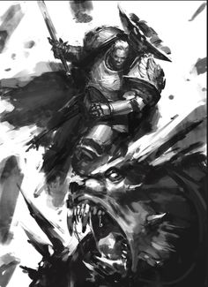 Primarch Dorn slays the Daemon of Ruin Warhammer Art, Warhammer 40k Miniatures, Warhammer 40000, The Horus Heresy, Imperial Fist, Fantasy Armor, Geek Art, Space Marine, Cool Artwork