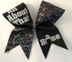 "An ""All About That Base""  in Silver Glitter on Black Cheer Bow. Black Center with Rhinestones Cheer Bow by Elitecheerbowsetc on Etsy (null)"