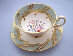 Vintage Paragon Teacup and Saucer Set Mint Green with Gold Swirls and Floral Design English Fine Bone China.