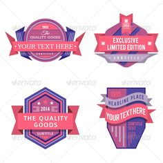 Set of vector logo pink retro labels and vintage style banners for web, print or video design.  All badges is 100 vector images,