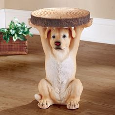 Labrador Holding Log Accent Table Silver Side Table, Mirrored Side Tables, Modern Side Table, Wooden Magazine Rack, Collections Etc, Garden Images, Log Furniture, End Tables, Cute Dogs