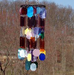 Winds Of Change IV Kaleidoscope Stained Glass Wind Chimes OOAK Windchimes
