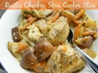 Rustic Chicken Slow Cooker Stew is a hearty stew made with chicken. Dump it in the slow cooker and no more worries!