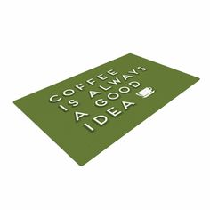 """Busy Bree """"Good Idea"""" Green Tyopgraphy Woven Area Rug"""