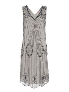 UK26 US22 Grey Vintage 1920s Flapper Gatsby Downton Abbey Deco Beaded Dress #GatsbvladyLondon #20s