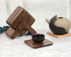 6 Piece Natural Wooden Coaster Set with Stand