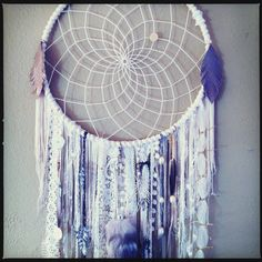 Huge White Dream Catcher FREE SHIPPING Vintage by CosmicAmerican