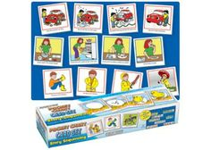 Story Sequencing Card set includes 125 double-sided cards and an activity guide. Children can develops skills to improve vocabulary and verbal communication Sequencing Words, Sequencing Pictures, Autism Learning, Learning Support, Diversity In The Classroom, Improve Vocabulary, Autism Resources, School Fun, School Stuff